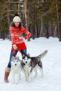 Happy woman playing with siberian husky dogs in winter forest Stock Image