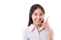 Happy woman pointing her finger up Royalty Free Stock Photo
