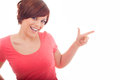 Happy woman pointing up with her finger isolated over white Royalty Free Stock Photography