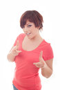 Happy woman pointing up with her finger isolated over white Royalty Free Stock Photo