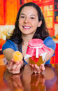 Happy woman prepared a peaches jam pot selective focus of her hapiness Stock Image