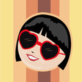 Happy woman with red glasses a young in a striped background Royalty Free Stock Photography