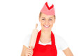 Happy woman with a rolling pin Royalty Free Stock Image