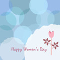 Happy Woman`s Day Card. Day Card poster with cute flower of Rose in pastel colors of blue. Modern, delicate design