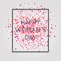 Happy Woman's Day! Dark cover card with words in a frame and pink flowers background. Royalty Free Stock Photo
