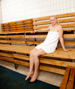 Happy Woman in Sauna Royalty Free Stock Images