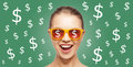 Happy woman in shades with dollar currency sings people finance and money concept screaming teenage girl over green background Royalty Free Stock Photos