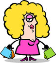 Happy woman with shopping bags cartoon Stock Photography