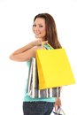 Happy woman with shopping bags and gifts Royalty Free Stock Photo