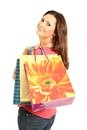 Happy woman with shopping bags and gifts Stock Photography