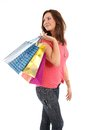 Happy woman with shopping bags and gifts Stock Image