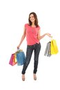 Happy woman with shopping bags and gifts Royalty Free Stock Photography