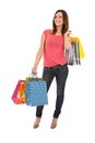 Happy woman with shopping bags and gifts Royalty Free Stock Images