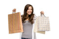 Happy woman with shopping bags half length portrait of isolated on white concept of consumerism and purchase Royalty Free Stock Photo
