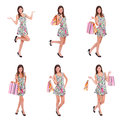 Happy woman shopping, collage Royalty Free Stock Images