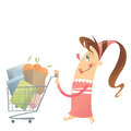 Happy woman shopping satisfied in a super market with her full c pink dress is cart Royalty Free Stock Photos