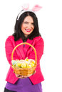 Happy woman showing easter basket with eggs bunny ears isolated on white background Royalty Free Stock Photography