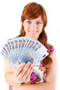 Happy woman showing euros currency notes on white background Royalty Free Stock Photography