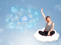 Happy woman sitting on cloud with cloud computing young Royalty Free Stock Photography