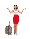 Happy woman with suitcase greeting picture of Royalty Free Stock Photography