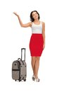 Happy woman with suitcase greeting picture of Royalty Free Stock Image