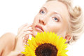 Happy woman with sunflower young attractive Stock Photo