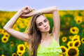 happy woman with sunflowers outdoors Royalty Free Stock Photo