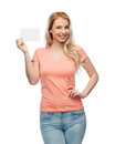 Happy woman or teen girl with blank white paper Royalty Free Stock Photo