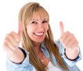 Happy woman with thumbs up Royalty Free Stock Photo