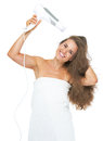 Happy woman in towel blow dry isolated on white Royalty Free Stock Photo
