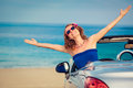 Happy woman travel by car Royalty Free Stock Photo
