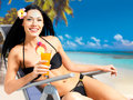 Happy woman on vacation enjoying at beach Royalty Free Stock Photo