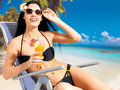 Happy woman on vacation enjoying at beach brunette Royalty Free Stock Photo