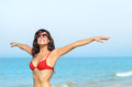 Happy woman vacations on beach Royalty Free Stock Photography