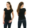 Happy woman wearing blank black shirt young beautiful brunette female with front and back ready for your design or artwork Stock Image