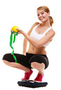 Happy woman weighing scale. Slimming weight loss. Royalty Free Stock Photo