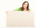 Happy woman with white board Royalty Free Stock Photo
