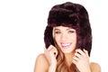 Happy Woman In Winter Fur Hat Stock Photos
