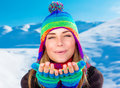 Happy woman on winter holidays Royalty Free Stock Photo