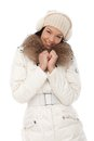Happy woman at wintertime in white coat Royalty Free Stock Photography