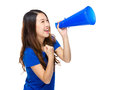 Happy woman yell with megaphone Royalty Free Stock Photo