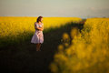 Happy woman yellow meadow Stock Images