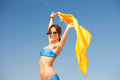 Happy woman with yellow sarong on the beach picture of Stock Photo