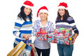image photo : Happy women with Christmas presents