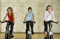 Happy women on exercise bikes Royalty Free Stock Photos