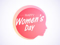 Happy women s day celebration with girl face pink silhouette of young for Royalty Free Stock Photography