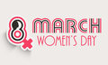 Happy women s day celebration poster or banner flyer with silhouette of woman face and female symbol for Stock Photography