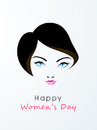 Happy women s day celebration with young girl face beautiful of a blue eyes on grey background for Royalty Free Stock Image
