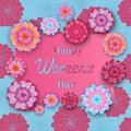 Happy Women`s Day. Greeting card with flowers in the style of cut paper.