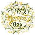 Happy Women`s Day Greeting Cards. 8 March lettering with flowers wreath.